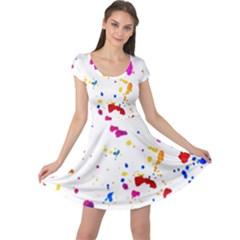 Multicolor Splatter Abstract Print Cap Sleeve Dress