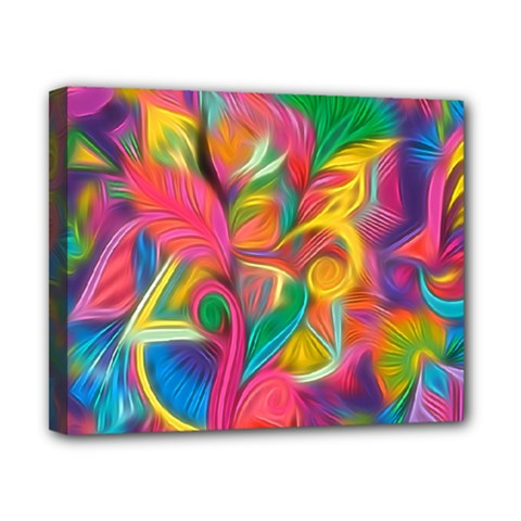 Colorful Floral Abstract Painting Canvas 10  X 8  (framed)