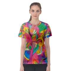 Colorful Floral Abstract Painting Women s Sport Mesh Tee