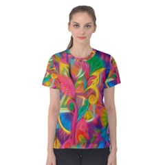 Colorful Floral Abstract Painting Women s Cotton Tee