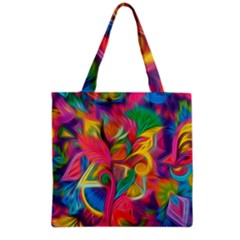 Colorful Floral Abstract Painting Grocery Tote Bag