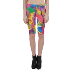 Colorful Floral Abstract Painting Cropped Leggings