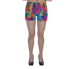 Colorful Floral Abstract Painting Skinny Shorts