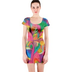 Colorful Floral Abstract Painting Short Sleeve Bodycon Dress