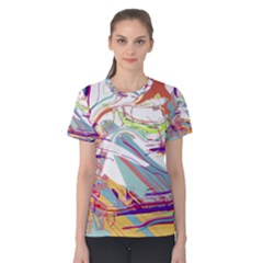 BEZIER SPLATTERS   Curved Splines combine carefully to form this colorful chaotic concept. Women s Cotton Tee