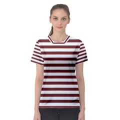 Marsala Stripes Women s Sport Mesh Tee