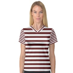 Marsala Stripes Women s V-Neck Sport Mesh Tee