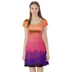 Orange Pink Purple Sunset Short Sleeve Skater Dress
