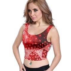 Red Fractal Lace Crop Top