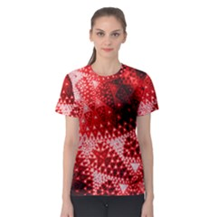 Red Fractal Lace Women s Sport Mesh Tee