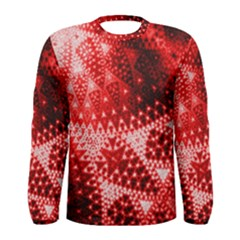 Red Fractal Lace Men s Long Sleeve T-shirt