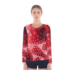 Red Fractal Lace Women s Long Sleeve T Shirt