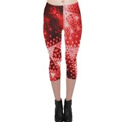 Red Fractal Lace Capri Leggings