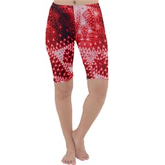 Red Fractal Lace Cropped Leggings