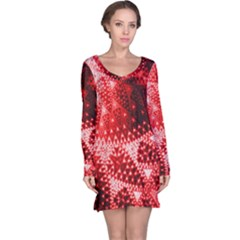 Red Fractal Lace Long Sleeve Nightdress