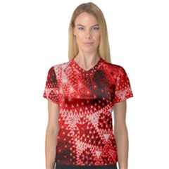 Red Fractal Lace Women s V-Neck Sport Mesh Tee