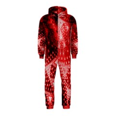 Red Fractal Lace Hooded Jumpsuit (Kids)