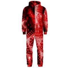 Red Fractal Lace Hooded Jumpsuit (Men)