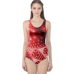 Red Fractal Lace One Piece Swimsuit