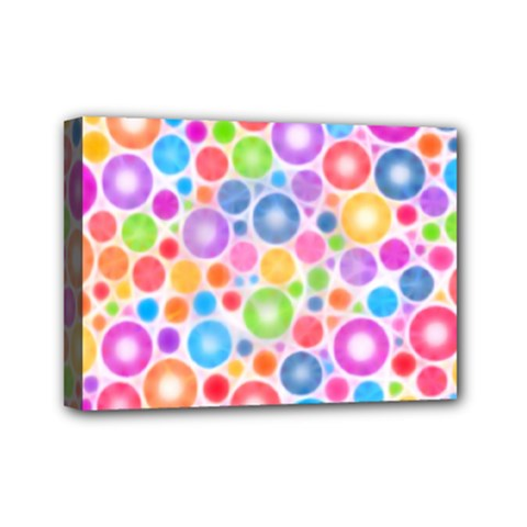 Candy Color s Circles Mini Canvas 7  X 5  (framed)