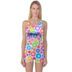 Candy Color s Circles One Piece Boyleg Swimsuit