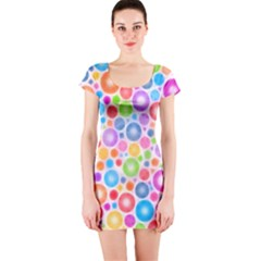 Candy Color s Circles Short Sleeve Bodycon Dress