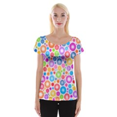 Candy Color s Circles Women s Cap Sleeve Top