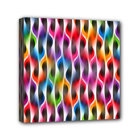 Rainbow Psychedelic Waves Mini Canvas 6  X 6  (framed)