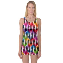 Rainbow Psychedelic Waves One Piece Boyleg Swimsuit