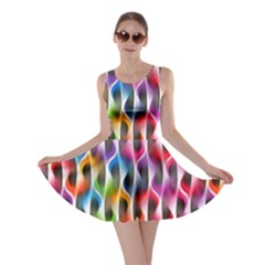 Rainbow Psychedelic Waves Skater Dress