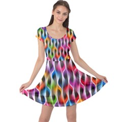Rainbow Psychedelic Waves Cap Sleeve Dress