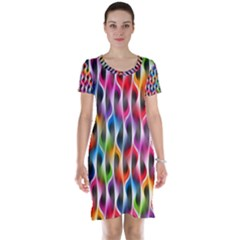 Rainbow Psychedelic Waves Short Sleeve Nightdress