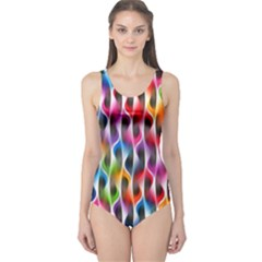 Rainbow Psychedelic Waves One Piece Swimsuit