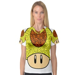 Really Mega Mushroom Women s V Neck Sport Mesh Tee