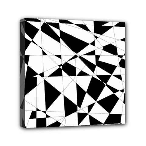 Shattered Life In Black & White Mini Canvas 6  X 6  (framed)