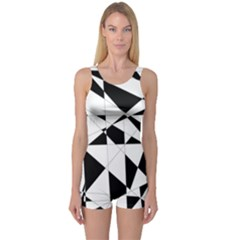 Shattered Life In Black & White One Piece Boyleg Swimsuit