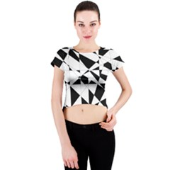 Shattered Life In Black & White Crew Neck Crop Top