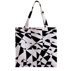 Shattered Life In Black & White Grocery Tote Bag