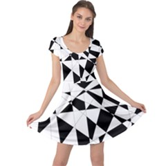 Shattered Life In Black & White Cap Sleeve Dress