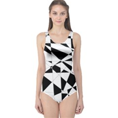 Shattered Life In Black & White One Piece Swimsuit