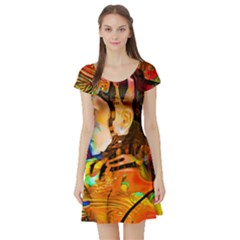 Robot Connection Short Sleeve Skater Dress