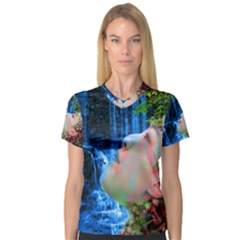 Fountain Of Youth Women s V Neck Sport Mesh Tee