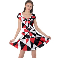 Shattered Life Tricolor Cap Sleeve Dress