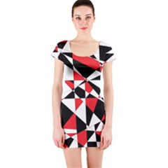 Shattered Life Tricolor Short Sleeve Bodycon Dress