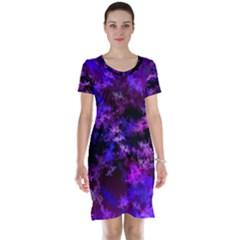 Purple Skulls Goth Storm Short Sleeve Nightdress