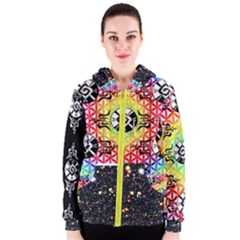 Shamanatrix Galactic Flower * Women s Zip Up Hoodie