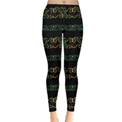 Modern Lace Stripe Pattern Leggings