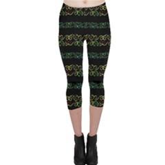 Modern Lace Stripe Pattern Capri Leggings