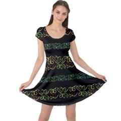 Modern Lace Stripe Pattern Cap Sleeve Dress