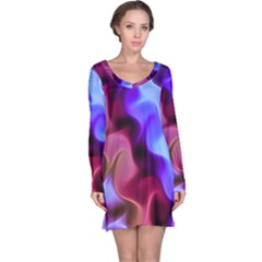 Rippling Satin Long Sleeve Nightdress